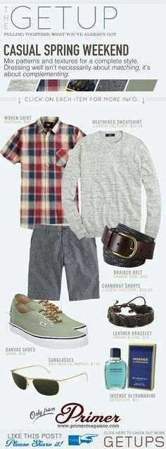 The Getup: Casual Spring Weekend - Mens Shirts Casual - Ideas of Mens Shirts Casual - The Getup: Casual Spring Weekend Primer Casual Wear, Men Casual, Men's Fashion, Fashion Outfits, Fashion Styles, Jamel, La Mode Masculine, Hipster, Bermuda