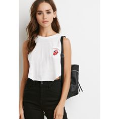 Forever 21 Forever 21 Women's Rolling Stones Pocket Tank ($15) ❤ liked on Polyvore featuring tops, forever 21 tank tops, crop top, pocket tanks, summer tanks and crop tank top