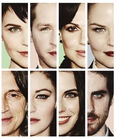 Once Upon a Time cast: Snow, Charming, Regina, Emma, Rumple, Belle, Red, & Hook.