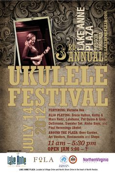 The 3rd Annual Ukulele Festival is back this July at Lake Anne Plaza in Reston. Live music and music demonstrations, beer, food, and a ton other family friendly activities are all in store! www.lakeanneplaza.com