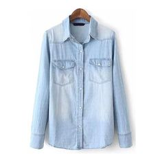 SheIn(sheinside) Blue Lapel Long Sleeve Bleached Denim Blouse (€18) ❤ liked on Polyvore featuring tops, blouses, shirts, blue, jackets, shirt blouse, long sleeve shirts, collared blouse, slim fit collared shirts and slim fit long sleeve shirts