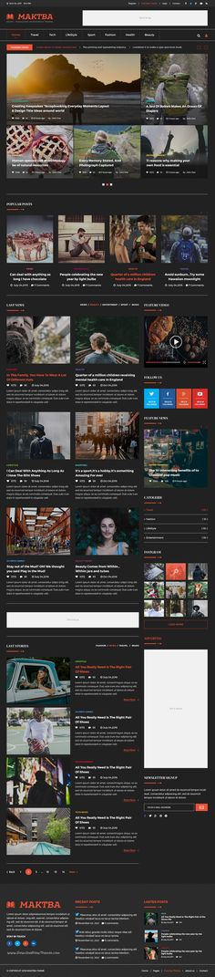 Maktba is a clean and modern design #PSD #template for #Newspaper and Magazine website download now➩ https://themeforest.net/item/maktba-news-magazine-psd-template/18599734?ref=Datasata