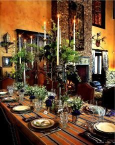 This is SUCH a gorgeous winter table setting. I'm imagining a fire place in the background, Cesaria Evora filling the air with her soulful voice, and the smell of sandalwood. Hmmm