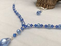 Blue Necklace, Gift For Her, Blue Crystal Necklace, Floating Necklace, Elegant Wedding Set, Bridal Necklace, Something Blue, Jewelry Set. by LittleAlsAccessories on Etsy