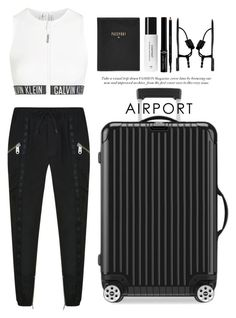 """Airport style"" by miee0105 ❤ liked on Polyvore featuring Versus, Calvin Klein, Giuseppe Zanotti, Rimowa, FOSSIL, Context, Gucci and Giorgio Armani"