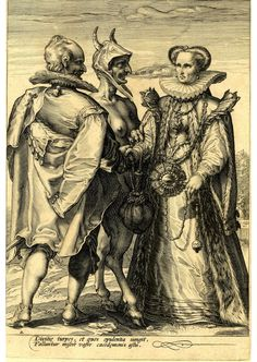 Marriage for Wealth Officiated by Satan Satan, with a female breast and a goat legs, stands between a finely attired couple who face each other and hold hands. Engraving made by Jan Saenredam after Hendrik Goltzius, Holland, 1595 (circa).