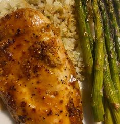 4 boneless skinless chicken breasts (about 2 lbs. total) ¼ cup freshly squeezed orange juice ¼ cup apricot preserves 1 tablespoon honey 1 tablespoon minced garlic 1 tablespoon soy sauce ½ teaspoon salt or more to taste ¼ teaspoon pepper 1 bunch, woody ends removed