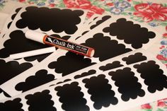Vinyl chalkboard decal stickers!  Chalkboard marker included.  Great for labeling and organization! Love them. On etsy.