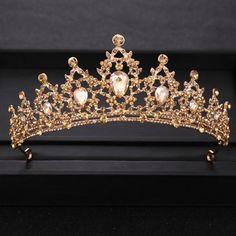 Gold Bridal Crowns, Bride Tiara, Gold Tiara, Diamond Tiara, Gold Crown, Princess Jewelry, Princess Tiara, Gold Headpiece, Wedding Dress Accessories