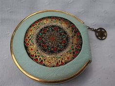 Made IN Israel Unique Vintage Zipper Powder Compact With Embroidered Center | eBay