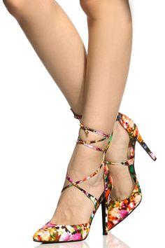 Floral Print Woven Pointed Toe Lace Up Heels @ Cicihot Heel Shoes online store sales:Stiletto Heel Shoes,High Heel Pumps,Womens High Heel Shoes,Prom Shoes,Summer Shoes,Spring Shoes,Spool Heel,Womens Dress Shoes