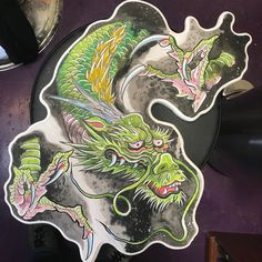japanese hokusai dragon cut out painting with wind