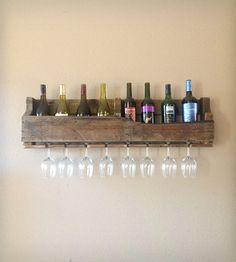 Reclaimed Wood Wine Rack - Dark