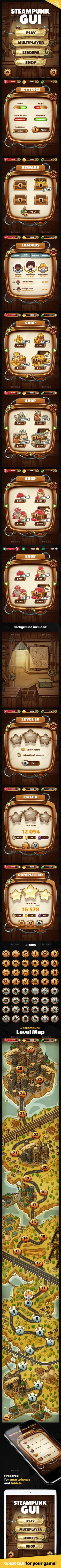 Steampunk GUI with Industrial Level Map — Photoshop PSD #window #mechanical • Download ➝ https://graphicriver.net/item/steampunk-gui-with-industrial-level-map/20479933?ref=pxcr