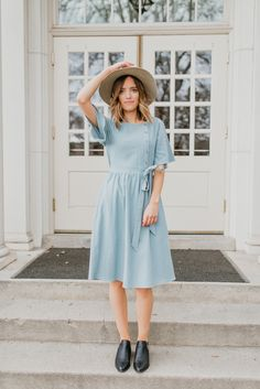 The Stirling Belted Dress in Spring Blue