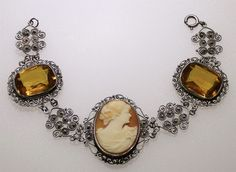 Antique Art Deco Filigree 800 Silver Shell Cameo Amber Stone Bracelet    Jewelry & Watches, Vintage & Antique Jewelry, Fine   eBay! SOLD