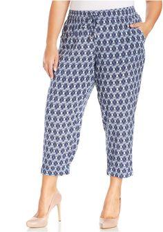 Plus Size Printed Soft Capri Pants