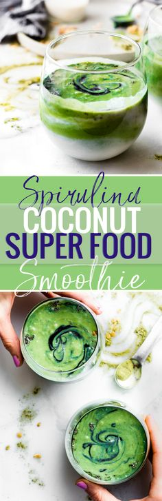 """CREAMY COCONUT SPIRULINA SUPERFOOD SMOOTHIE! an easy way to boost Energy and Protein intake with real food. No protein powder needed. A """"balanced"""" creamy Superfood smoothie with coconut milk, spirulina, fruit, avocado, ginger root, and a pinch antioxidant rich spices! Paleo and Vegan friendly for all! www.cottercrunch.com"""