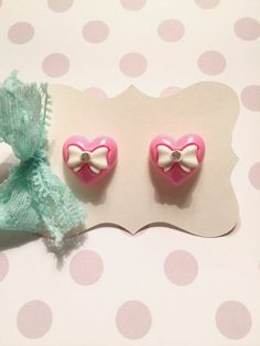 Bubblegum Pink Heart Bow Tie Stud Earrings by strawberriesncreamm on Etsy