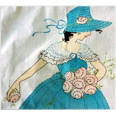 1917 - 1920 Art Deco Vintage Bedspread Embroidered and Hand Painted Lady in Hat