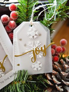 Joy: W+9 Hand Lettered Holiday Die; Snowflakes: W+9 Snowflake Trio; Tag: PTI Tag Sale 3
