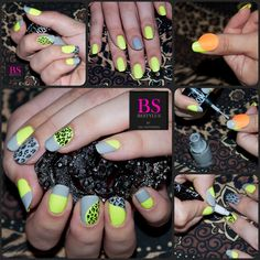 Tutorial: neon green, grey and leopard print