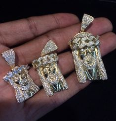 Mini Solid Back Jesus Piece With Chain Jesus Piece, Gold Chains For Men, Angel Wing Earrings, Lab Created Diamonds, Indie Brands, Luxury Jewelry, Gifts For Friends, Diamond Earrings, Women Jewelry