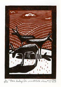 Three donkeys (an uncomfortable silence no.2) 2-colour linocut print £22.00