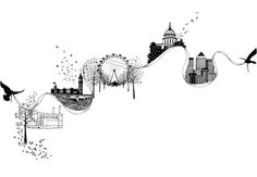 LONDON Art Print by Gemzee Skyline Tattoo, Skyline Art, British Tattoo, Drawing Commissions, London Illustration, Office Mural, City Drawing, London Tattoo, Time Tattoos