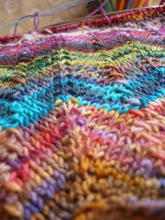 Zig and Zag Blanket using sock yarn scraps.