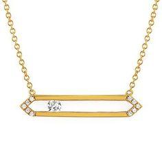 "14 Karat Yellow 16""+2"" Sliding Diamond Pendant"