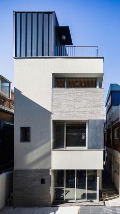 Architecture Design, Minimalist Home Interior, Facade, Home Appliances, Exterior, House Design, Korean, Building, Outdoor Decor