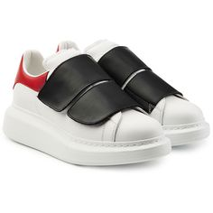 Alexander McQueen Leather Sneakers ($435) ❤ liked on Polyvore featuring shoes, sneakers, multicolored, leather sneakers, leather trainers, velcro strap shoes, velcro shoes and white velcro shoes