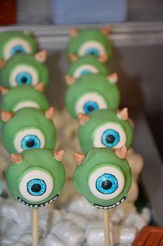 Monsters Inc Mike Wazowski Cake Pops