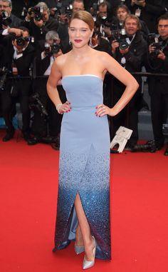 Léa Seydoux en robe Louis Vuitton sur-mesure lors de la montée des marches du film Grand Central au Festival de Cannes 2013