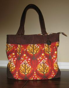 Eco vegan Cork paired with Tula Pinks' Tree of life  Cinnamon.One of a kind bag has recessed zipper and loads of pockets Blue Calla Patterns by CreationsbycathyK on Etsy