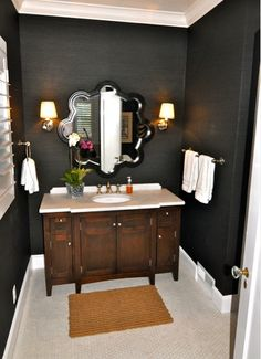 dark grasscloth walls  with bright white trim and accents