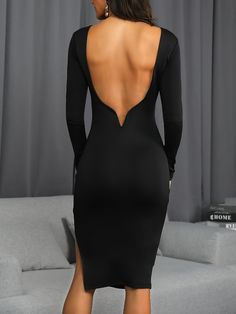 ivrose / Open Back Side Slit Party Dress Sexy Dresses, Evening Dresses, Work Dresses, Midi Dresses, Sequin Party Dress, Party Dresses, Womens Fashion Online, Ladies Fashion, Beautiful Gowns