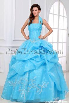 Blue Halter Festa de Quinze Anos Celebrity Dress:1st-dress.com