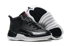 "new product 440ab 5f55c New 2017 Kids Air Jordan 12 ""Black Nylon"" Black White-Gym Red"