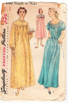 Vintage 1952 Simplicity 4140 Sewing Pattern Women's Nightgown in Two Lengths Size 20 Bust 38