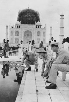 Covered in bamboo scaffolding to disguise it from enemy bombers, the dome of the Taj Mahal, Agra, India, looks almost as if it is being built during WWII. x -- OPENPICS. Rare Historical Photos, Historical Artifacts, Famous Buildings, Famous Landmarks, Taj Mahal, Stonehenge, Monte Rushmore, Ponte Golden Gate, Impressive Image