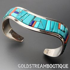 Native American N. Silver Navajo Artist Great Sterling Silver Multi Ge – Gold Stream Boutique