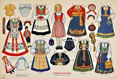 1950`s Norske Bunader Paper Doll,  Norwegian National Costume