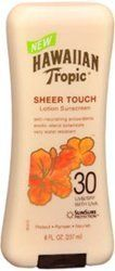 Hawaiian Tropic Sheer Touch Lotion Sunscreen 30 UVB/SPF with UVA, 8 oz (Pack of 3) by Hawaiian. $30.95. Hawaiian Tropic Sheer Touch Lotion Sunscreen SPF 30 Helps prevent sunburn. A warm sun, island breezes, luxuriant lotions and a heavenly scent - Hawaiian Tropic lotion has antioxidants that nourish the skin and island botanicals that soothe and pamper. Our patented SunSure formula delivers proven UVA and UVB protection, so your skin is soft and looks radiant.