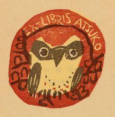 owl bookplate - Toshio Kajiyama, Art-exlibris.net