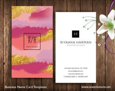 Watercolor name card, beautiful name card, calling card, business card, pink and gold name card, photography name card #NameCard #AbstractArt #AbstractNameCard #StylistCard #ModelNameCard #BusinessCard #ColourfulNameCard #GoldFoil #NameCardTemplate #WaterColor