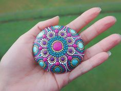 Dot Mandala Stone Rock Painted Pink, Green, Purple, Gold and White by LaBellaArtigiana on Etsy