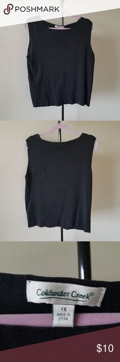 Coldwater Creek Black Tank Top Size 1X Coldwater Creek Black Tank Top Size 1X. Gently worn tank top shell. Comes from a smoke free home. Check out my other listings for sale, I've got a ton! Bundle and save!  *All earnings go to the victims of hurricane Maria in PR* Coldwater Creek Tops Tank Tops