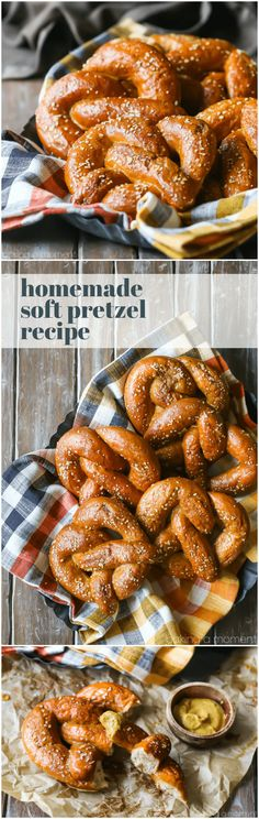 Homemade Soft Pretzel Recipe: I followed the steps and they came out perfectly! Hot, soft, and chewy, with a great yeasty flavor. Perfect with a sprinkling of crunchy salt and a dip in grainy mustard! #food #recipes #breads via @bakingamoment